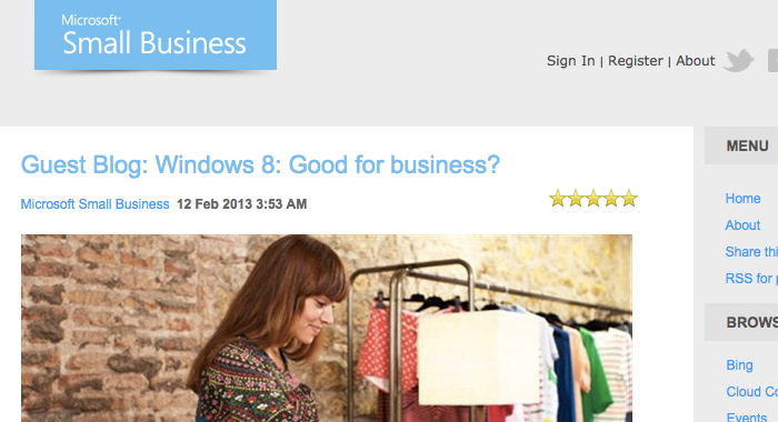 Featured Article on Microsoft Small Business Blog